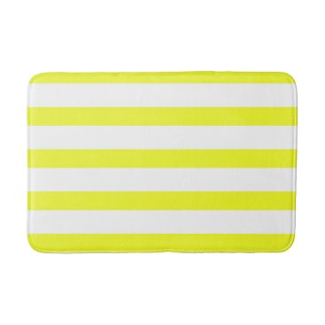Beach Themed Yellow and White Stripes Bathroom Mat 2