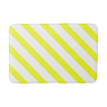 Beach Themed Yellow and White Stripes Bathroom Mat 3