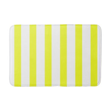 Beach Themed Yellow and White Stripes Bathroom Mat 4