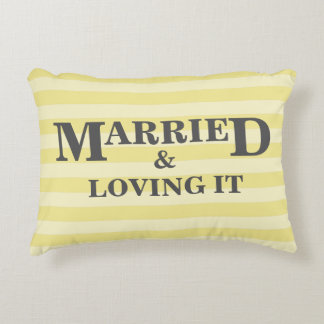 Yellow and White Stripes Personalized Couples Accent Pillow