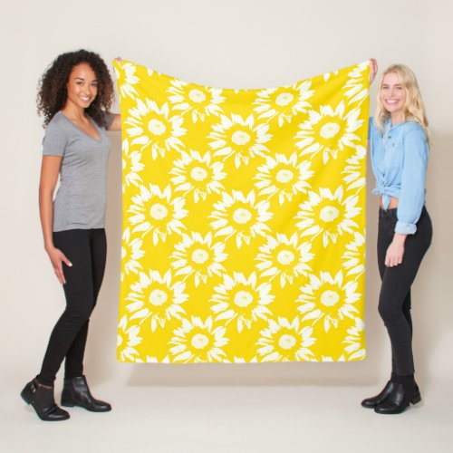 Yellow and White Sunflower Pattern Fleece Blanket