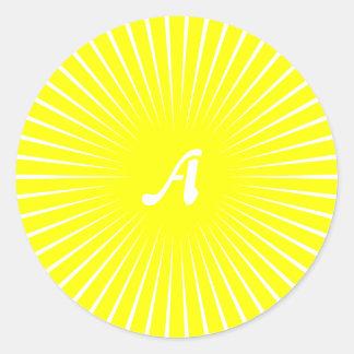 Yellow and White Sunrays Monogram Round Sticker