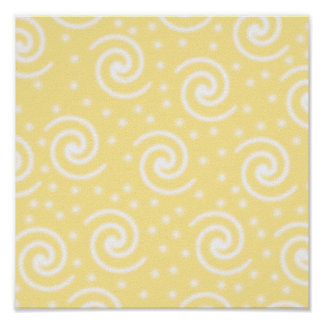 Yellow and White Swirls and Dots. Posters