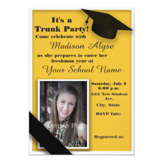 Yellow and White Trunk College Party Photo Card