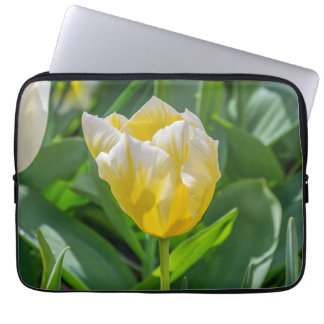 Yellow and white tulip laptop sleeve