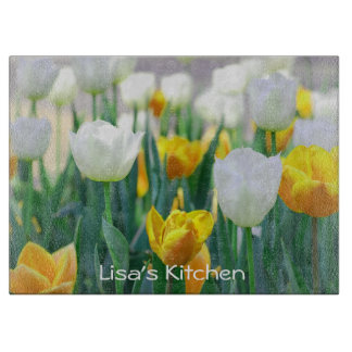 Yellow and White Tulips Cutting Board