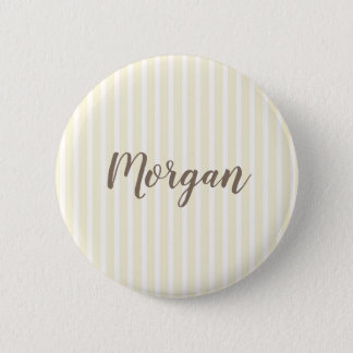 Yellow and White Vertical Stripes Button