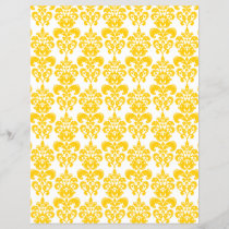 Yellow and White Vintage Damask Pattern 2
