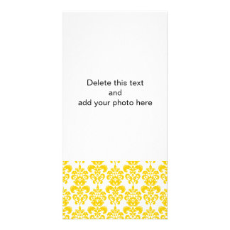 Yellow and White Vintage Damask Pattern 2 Card