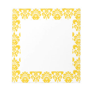 Yellow and White Vintage Damask Pattern 2 Notepads