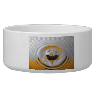 Yellow and White Water Drop Dog Bowl
