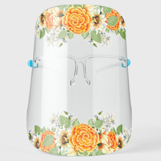 Yellow and White Watercolor Floral Face Shield