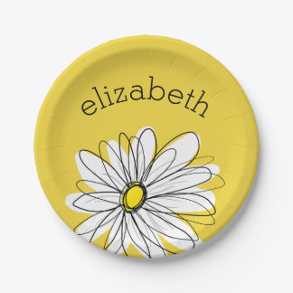 Yellow and White Whimsical Daisy with Custom Text 7 Inch Paper Plate