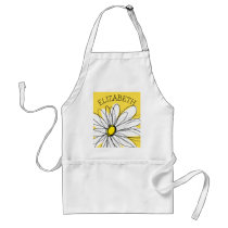 Yellow and White Whimsical Daisy with Custom Text Adult Apron