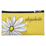 Yellow and White Whimsical Daisy with Custom Text Makeup Bags