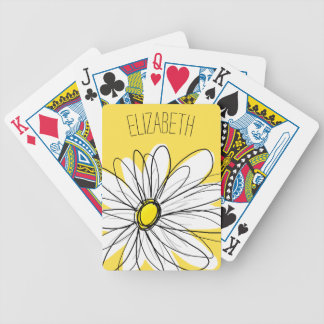 Yellow and White Whimsical Daisy with Custom Text Bicycle Playing Cards