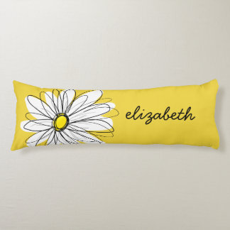 Yellow and White Whimsical Daisy with Custom Text Body Pillow