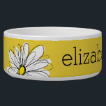 """Yellow and White Whimsical Daisy with Custom Text Bowl<br><div class=""""desc"""">A zen and whimsical,  hipster piece of art. You can add a name,  monogram or other custom text. If you need to move the art around,  click on the customize button to make changes.</div>"""