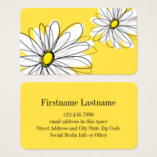 Whimsical business cards templates zazzle yellow and white whimsical daisy with custom text business card colourmoves