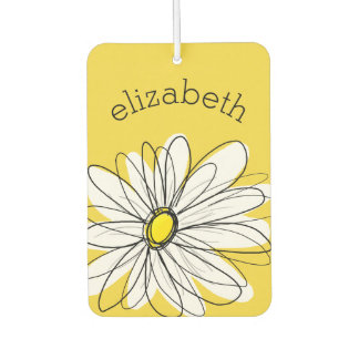 Yellow and White Whimsical Daisy with Custom Text Car Air Freshener
