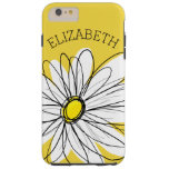 Yellow and White Whimsical Daisy with Custom Text Tough iPhone 6 Plus Case