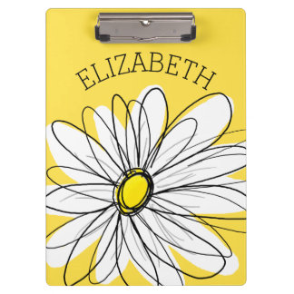 Yellow and White Whimsical Daisy with Custom Text Clipboards