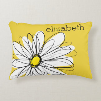 Yellow and White Whimsical Daisy with Custom Text Decorative Pillow