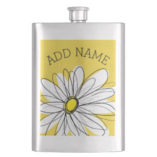 Yellow and White Whimsical Daisy with Custom Text Flask