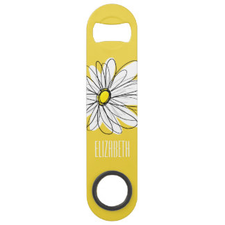 Yellow and White Whimsical Daisy with Custom Text Speed Bottle Opener
