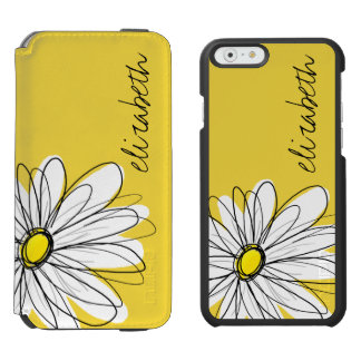 Yellow and White Whimsical Daisy with Custom Text iPhone 6/6s Wallet Case