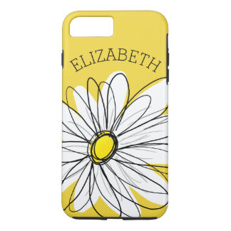 Yellow and White Whimsical Daisy with Custom Text iPhone 7 Plus Case