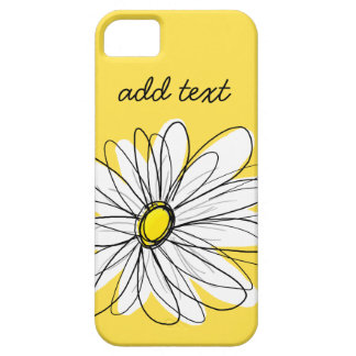 Yellow and White Whimsical Daisy with Custom Text iPhone SE/5/5s Case