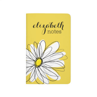 Yellow and White Whimsical Daisy with Custom Text Journal