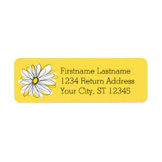 Yellow and White Whimsical Daisy with Custom Text Label
