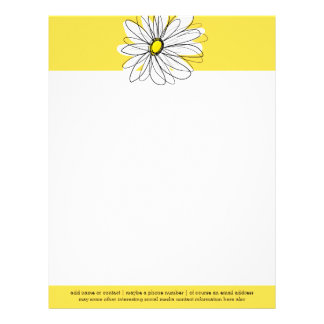 Yellow and White Whimsical Daisy with Custom Text Letterhead