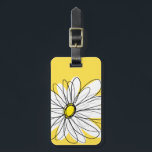"""Yellow and White Whimsical Daisy with Custom Text Luggage Tag<br><div class=""""desc"""">A zen and whimsical,  hipster piece of art. You can add a name,  monogram or other custom text. If you need to move the art around,  click on the customize button to make changes.</div>"""