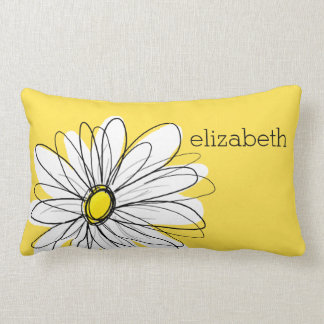 Yellow and White Whimsical Daisy with Custom Text Lumbar Pillow