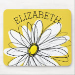 "Yellow and White Whimsical Daisy with Custom Text Mouse Pad<br><div class=""desc"">A zen and whimsical,  hipster piece of art. You can add a name,  monogram or other custom text. If you need to move the art around,  click on the customize button to make changes.</div>"
