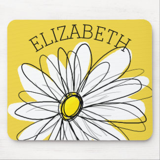 Yellow and White Whimsical Daisy with Custom Text Mouse Pad