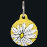 "Yellow and White Whimsical Daisy with Custom Text Pet ID Tag<br><div class=""desc"">A zen and whimsical,  hipster piece of art. You can add a name,  monogram or other custom text. If you need to move the art around,  click on the customize button to make changes.</div>"