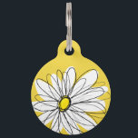 """Yellow and White Whimsical Daisy with Custom Text Pet ID Tag<br><div class=""""desc"""">A zen and whimsical,  hipster piece of art. You can add a name,  monogram or other custom text. If you need to move the art around,  click on the customize button to make changes.</div>"""