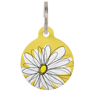 Yellow and White Whimsical Daisy with Custom Text Pet ID Tag