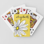"Yellow and White Whimsical Daisy with Custom Text Playing Cards<br><div class=""desc"">A zen and whimsical,  hipster piece of art. You can add a name,  monogram or other custom text. If you need to move the art around,  click on the customize button to make changes.</div>"