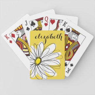 Yellow and White Whimsical Daisy with Custom Text Playing Cards