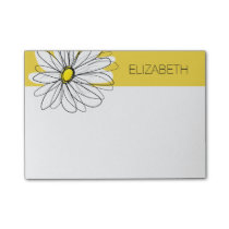Yellow and White Whimsical Daisy with Custom Text Post-it Notes