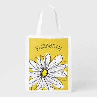 Yellow and White Whimsical Daisy with Custom Text Reusable Grocery Bag