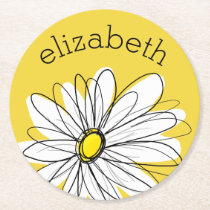Yellow and White Whimsical Daisy with Custom Text Round Paper Coaster