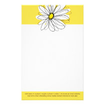 Yellow and White Whimsical Daisy with Custom Text Stationery