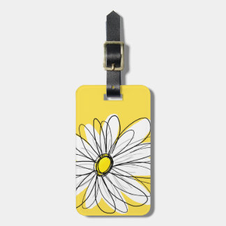 Yellow and White Whimsical Daisy with Custom Text Tag For Luggage