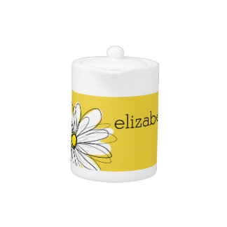 Yellow and White Whimsical Daisy with Custom Text Teapot